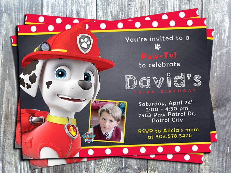 Paw Patrol Marshal Birthday Party Invitation