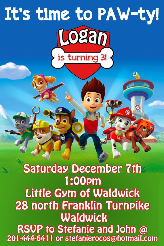 All team Paw Patrol Birthday Invitation