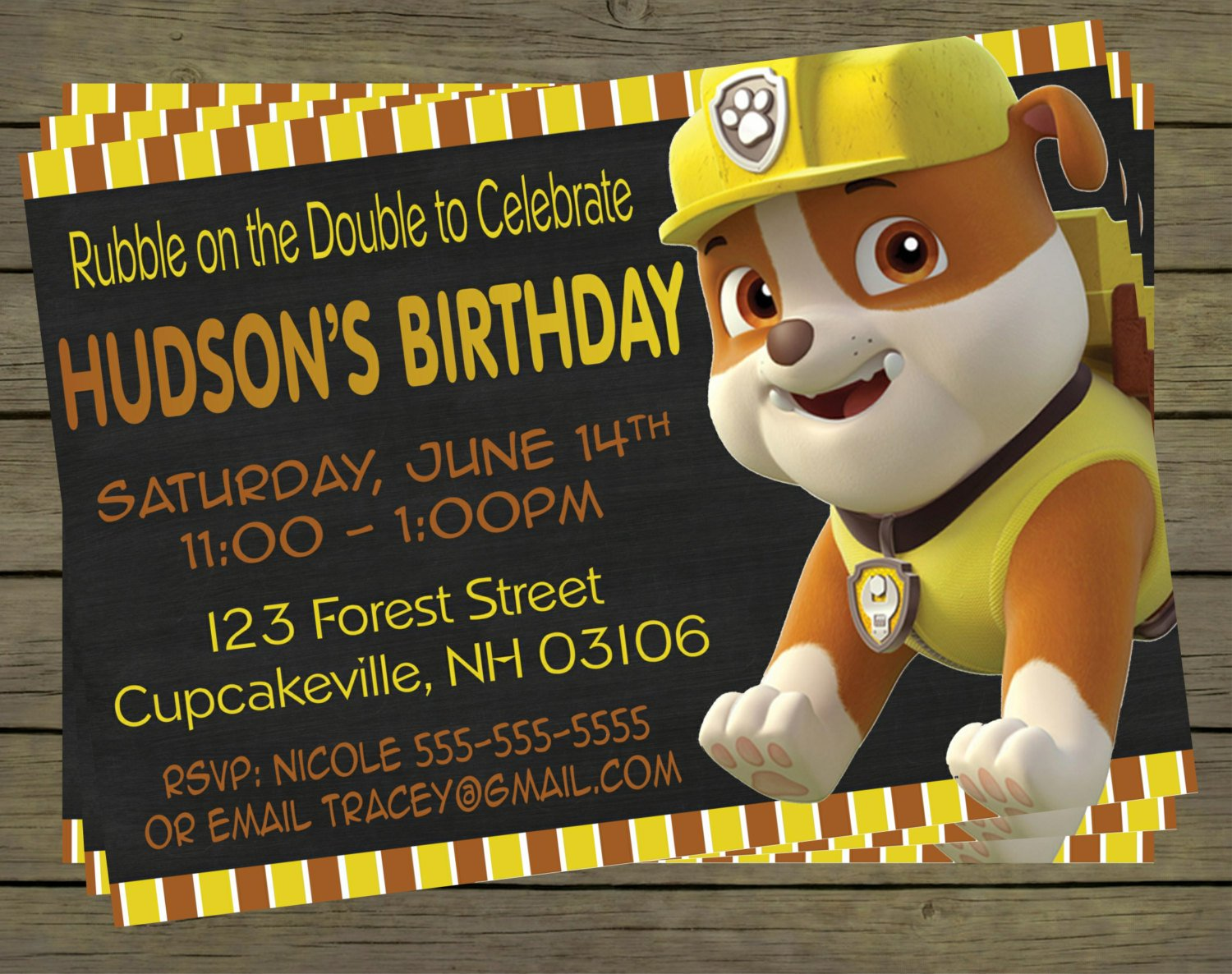 Paw Patrol Rubble Birthday Party Invitation