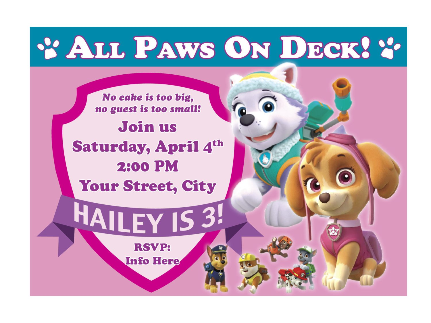 Paw Patrol Birthday Invitation for Girl