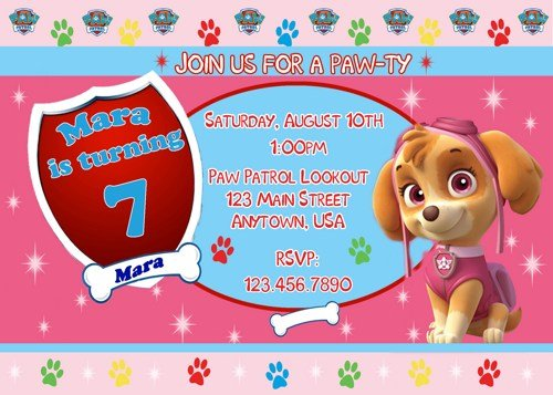 Sky Paw Patrol Birthday Invitations