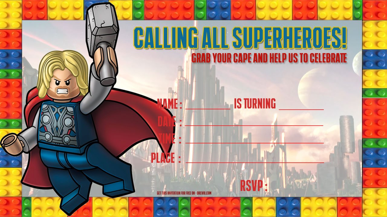 Free Lego Thor Birthday Invitation Template | Drevio Invitations Design