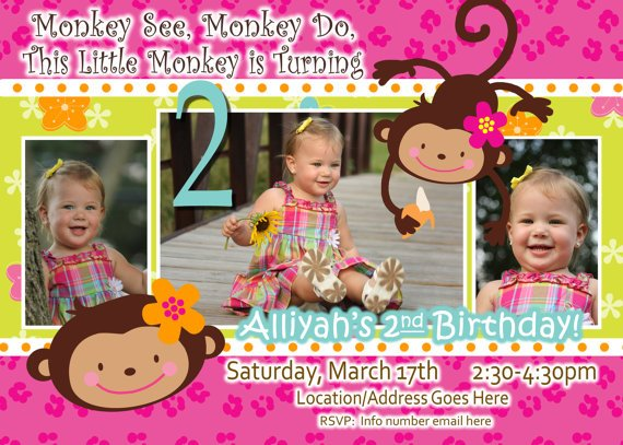 2 Year Old Monkey Birthday Invitation Custom Photo