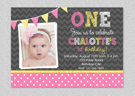 Baby Girl 1st Birthday Invitations | Drevio Invitations Design