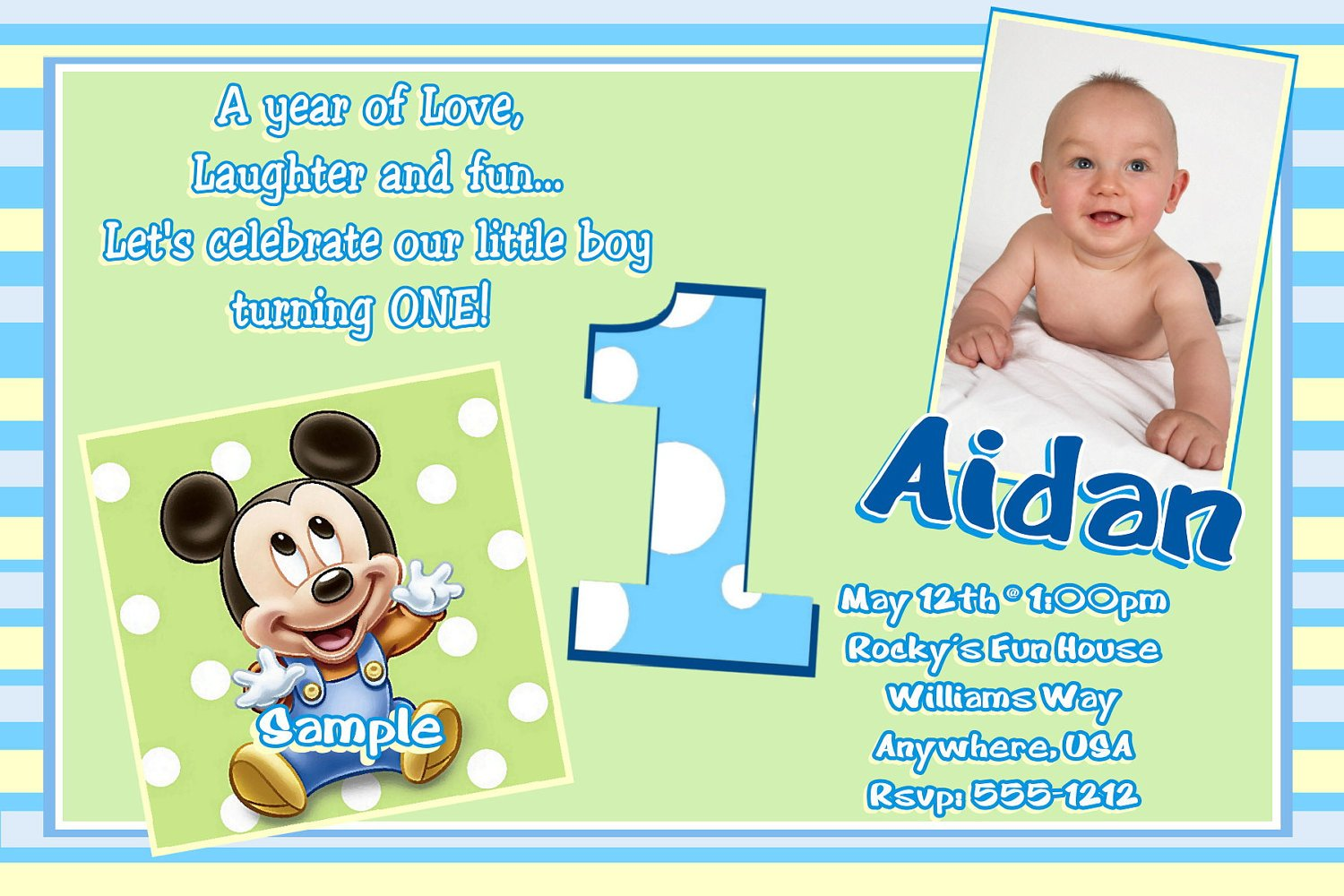 FREE Printable Mickey Mouse St Birthday Invitations Template - Birthday invitation for one year baby