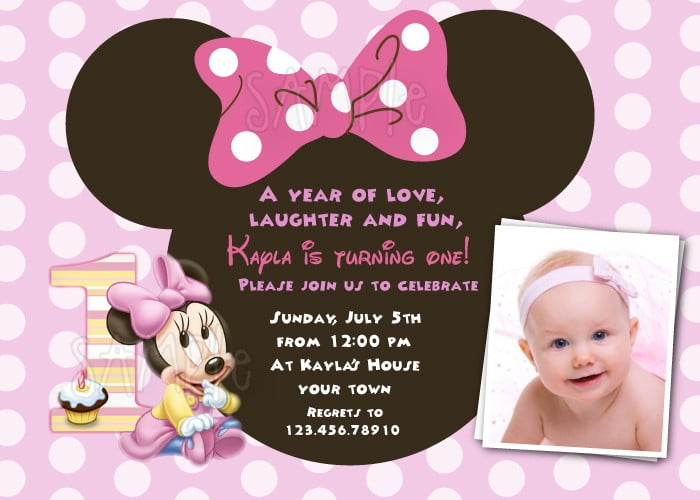 FREE Download Minnie Mouse 1st Birthday Invitations