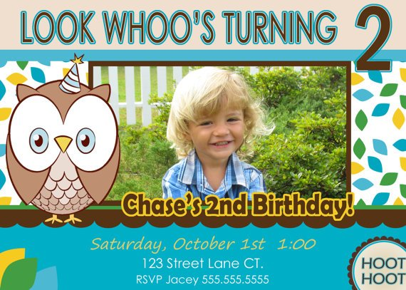 Baby owl 2 Year Old Birthday Invitations Templates