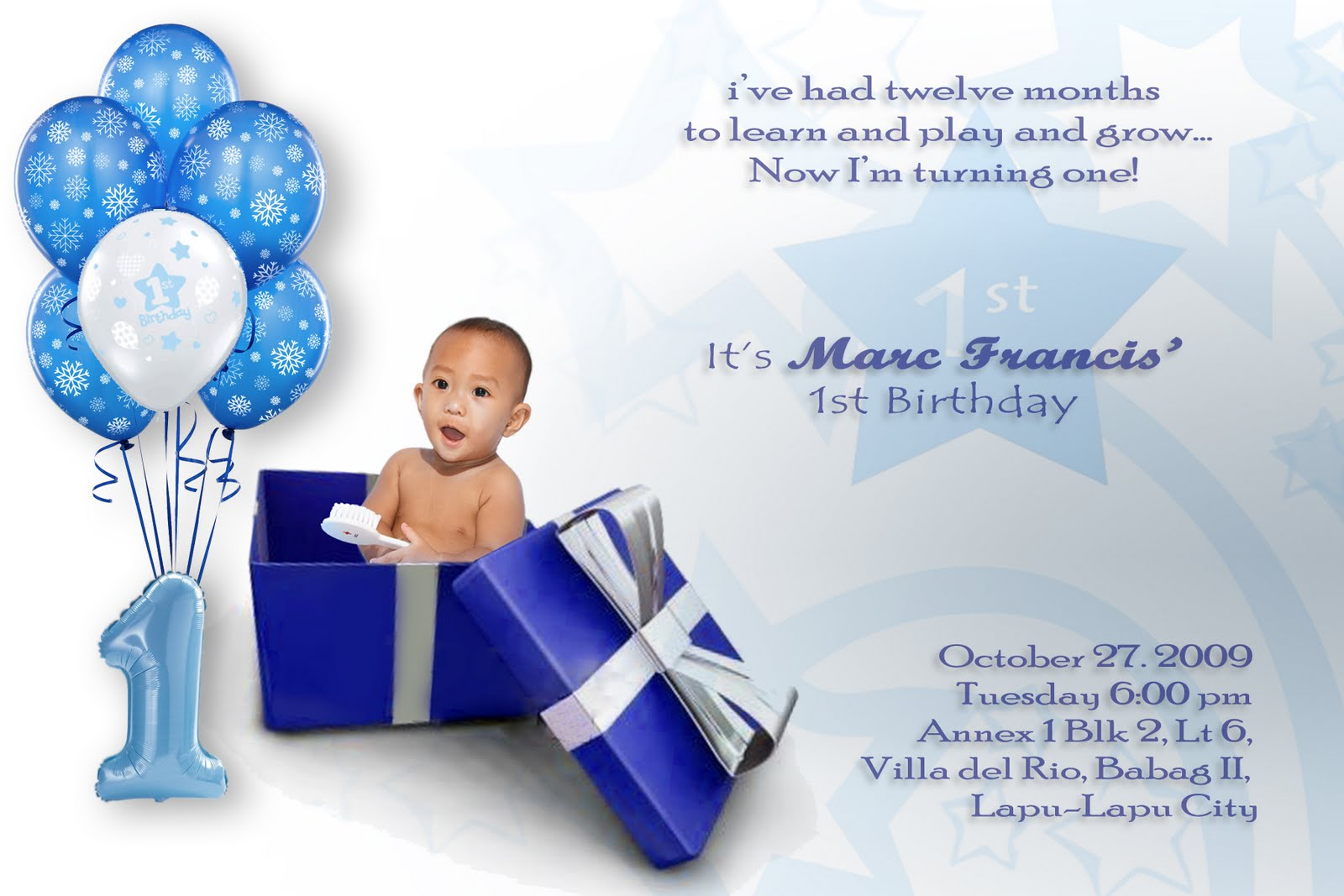 Balloon And Gift Baby Boy First Birthday Invitation Wording Ideas
