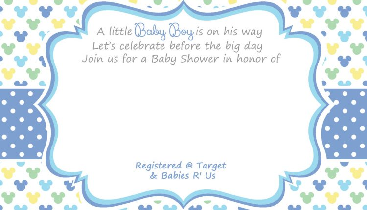 blank mickey boy baby shower invitation  u2013 free invitation