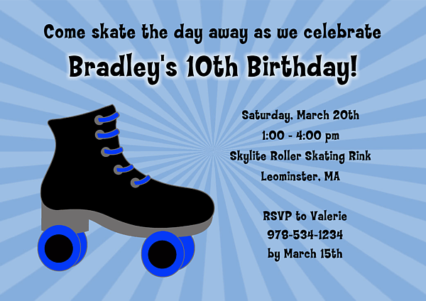 photograph relating to Hockey Skate Template Free Printable titled Roller Skating Birthday Bash Invites - Free of charge Invitation