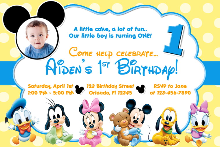 Cute Baby Mickey Mouse Clubhouse Birthday Invitations