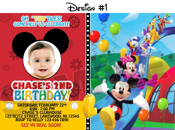 DIY Mickey Mouse First Birthday Invitation With Photo Design