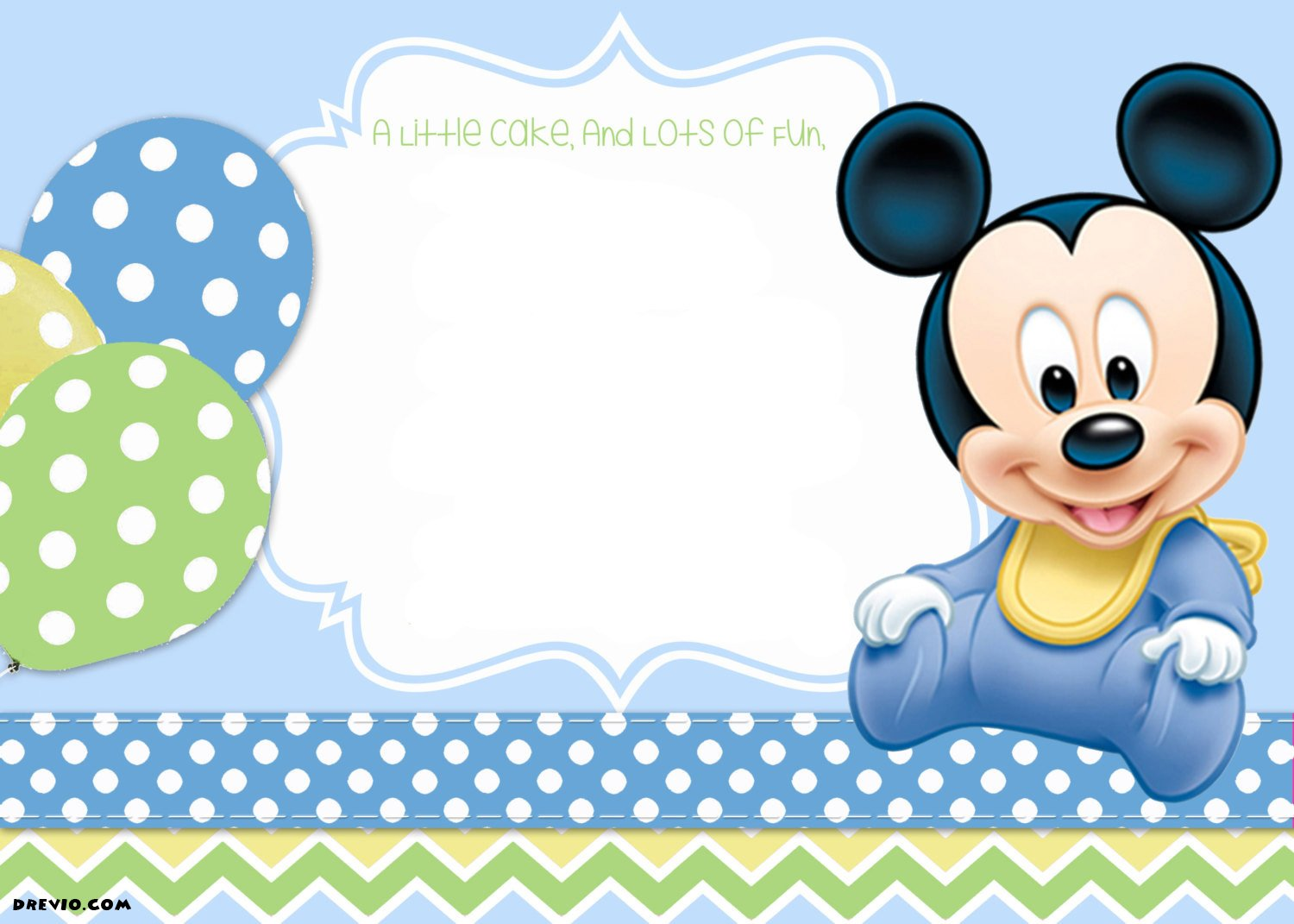 FREE Printable Mickey Mouse 1st Birthday Invitations Template – Blank Invitation Template