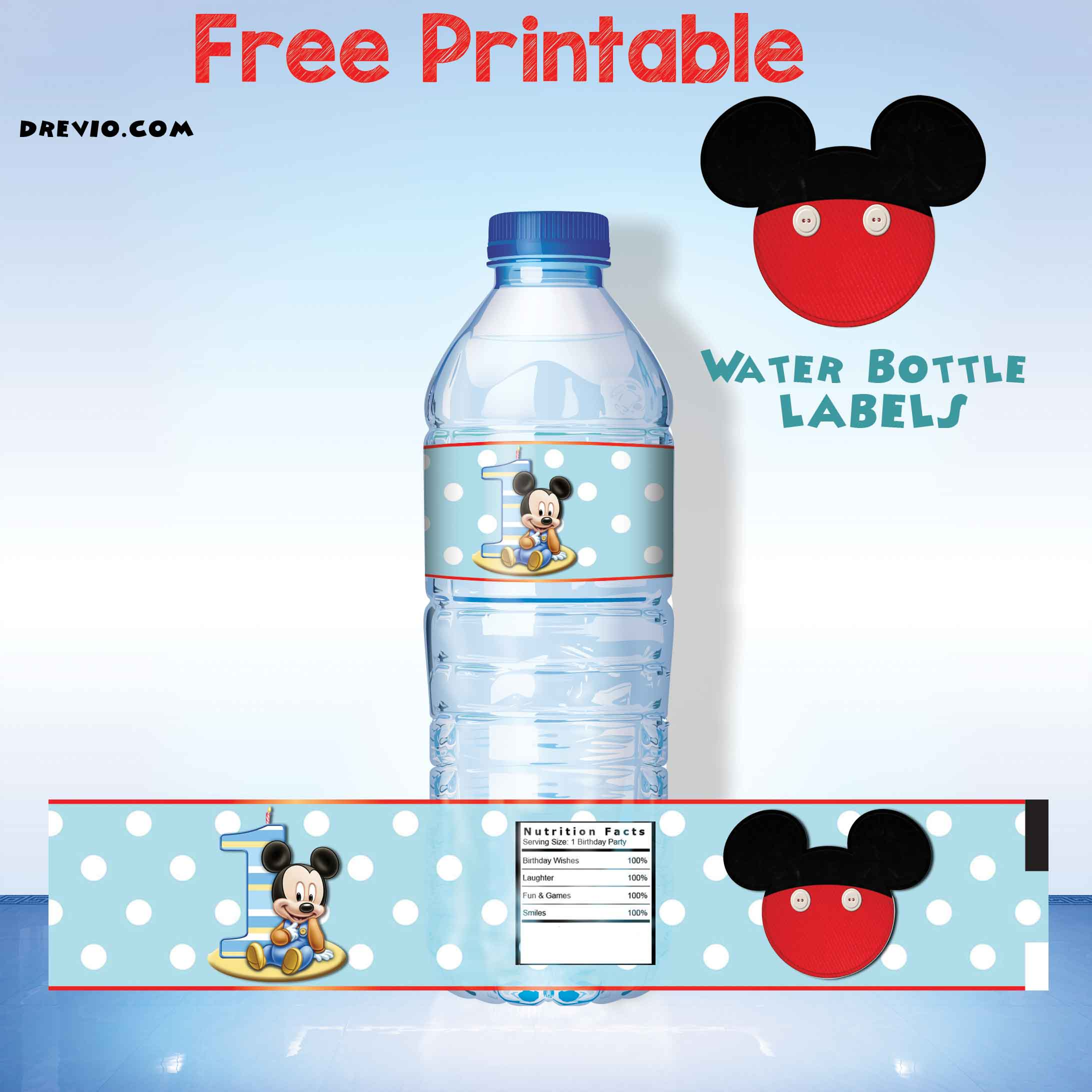 photo relating to Printable Water Bottle Labels Free named Totally free Printable Mickey Mouse H2o Bottle Label - Free of charge