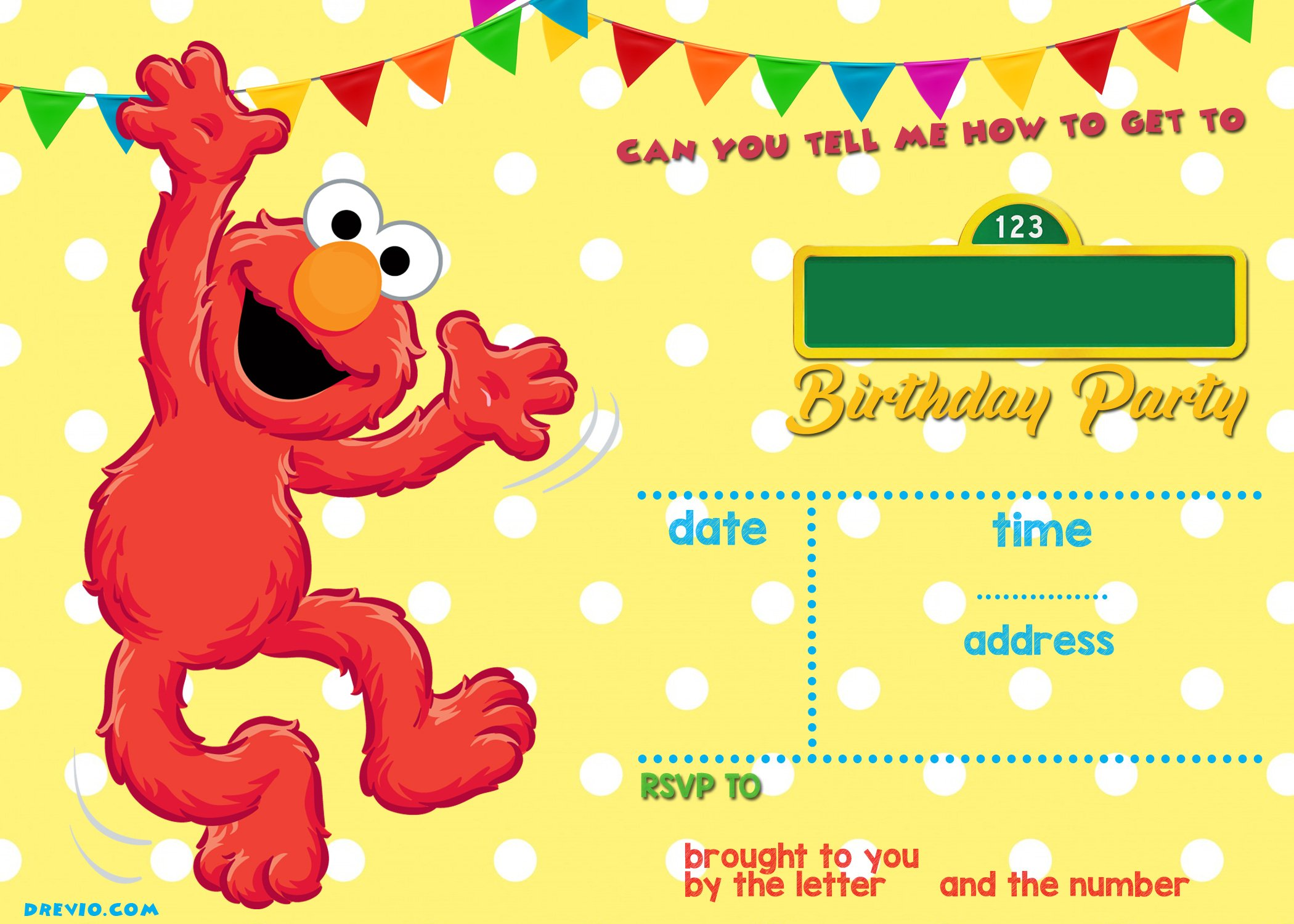 Sesame Street Birthday Invitations Online FREE Invitation