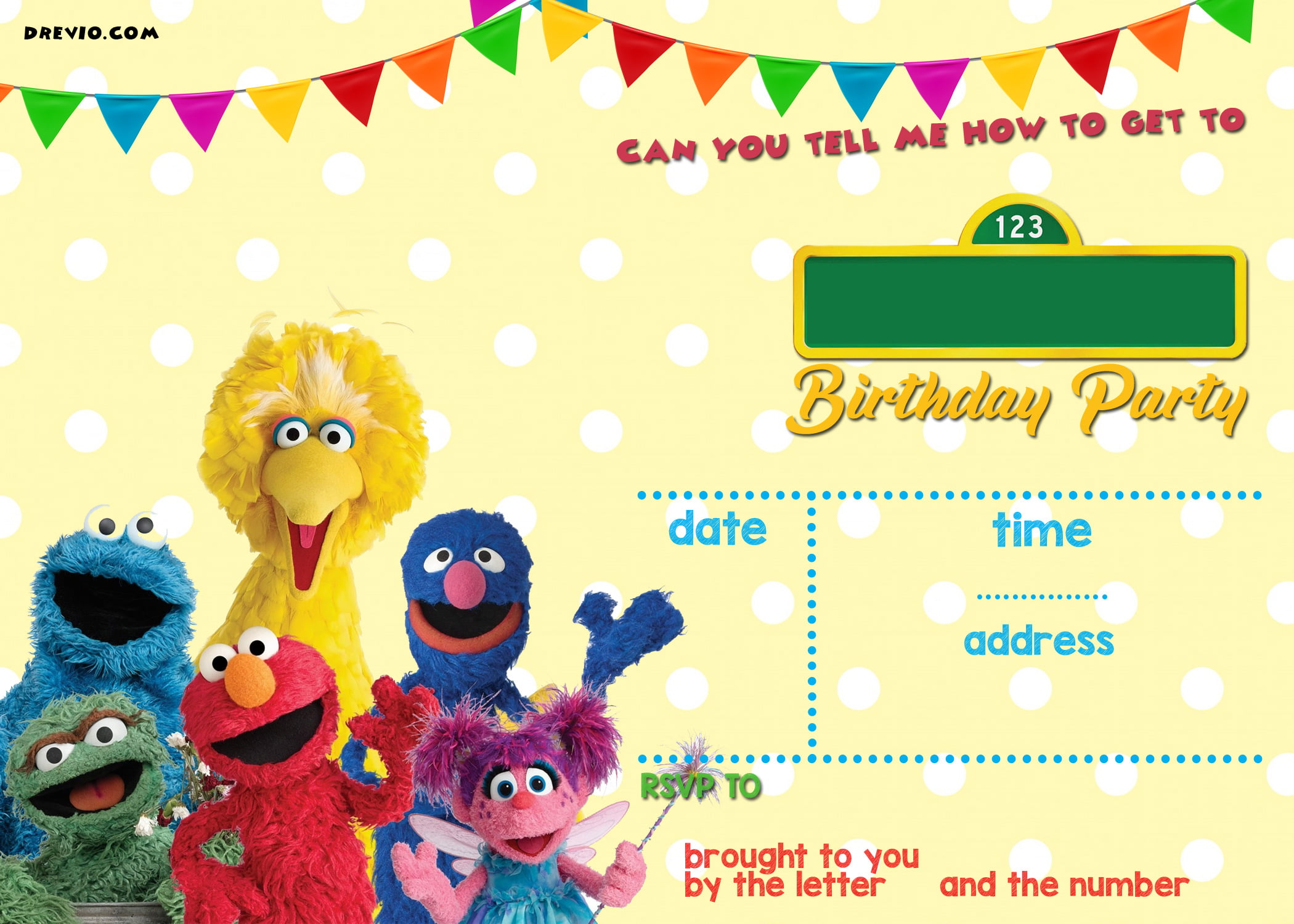 Elmo Sesame Street Birthday Party Invitations