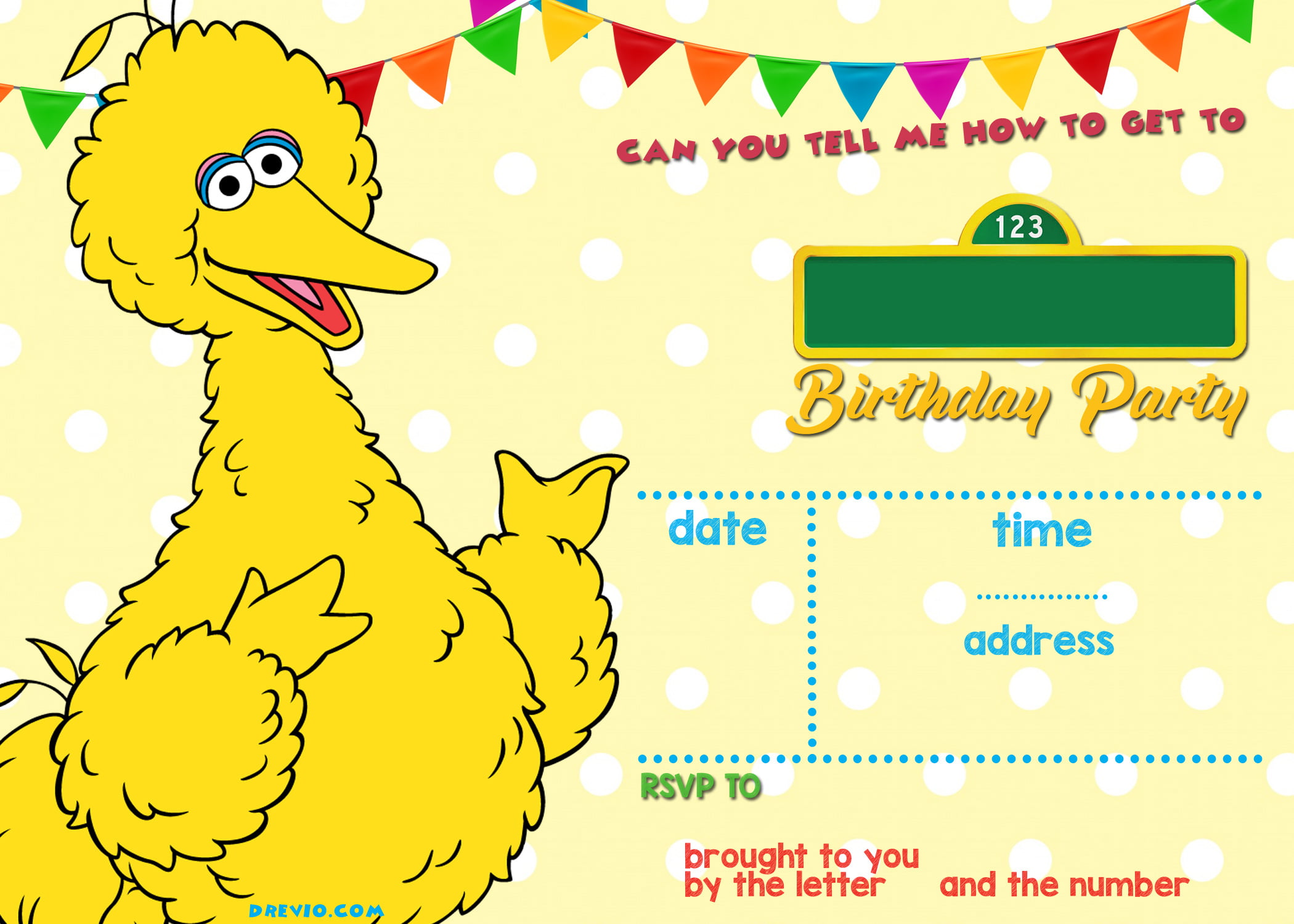 FREE Printable Elmo Sesame Street Birthday Party Invitations | FREE ...