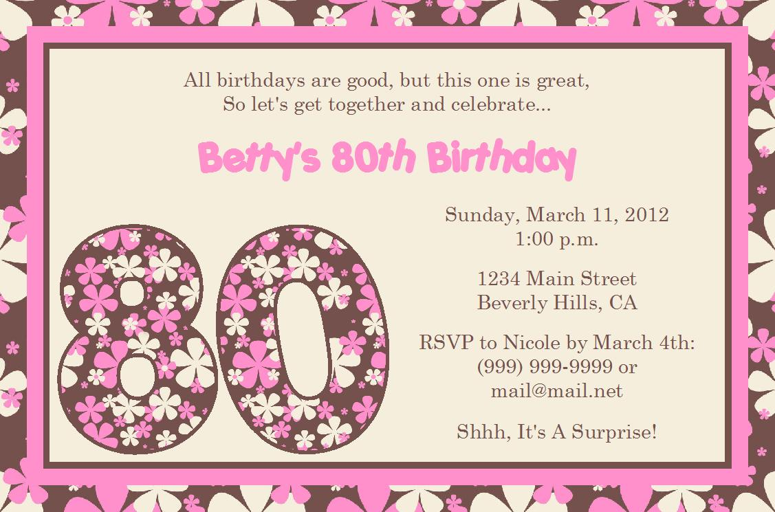 Free Floral Pink 80th Birthday Invitations To Print  Invitation Birthday Template