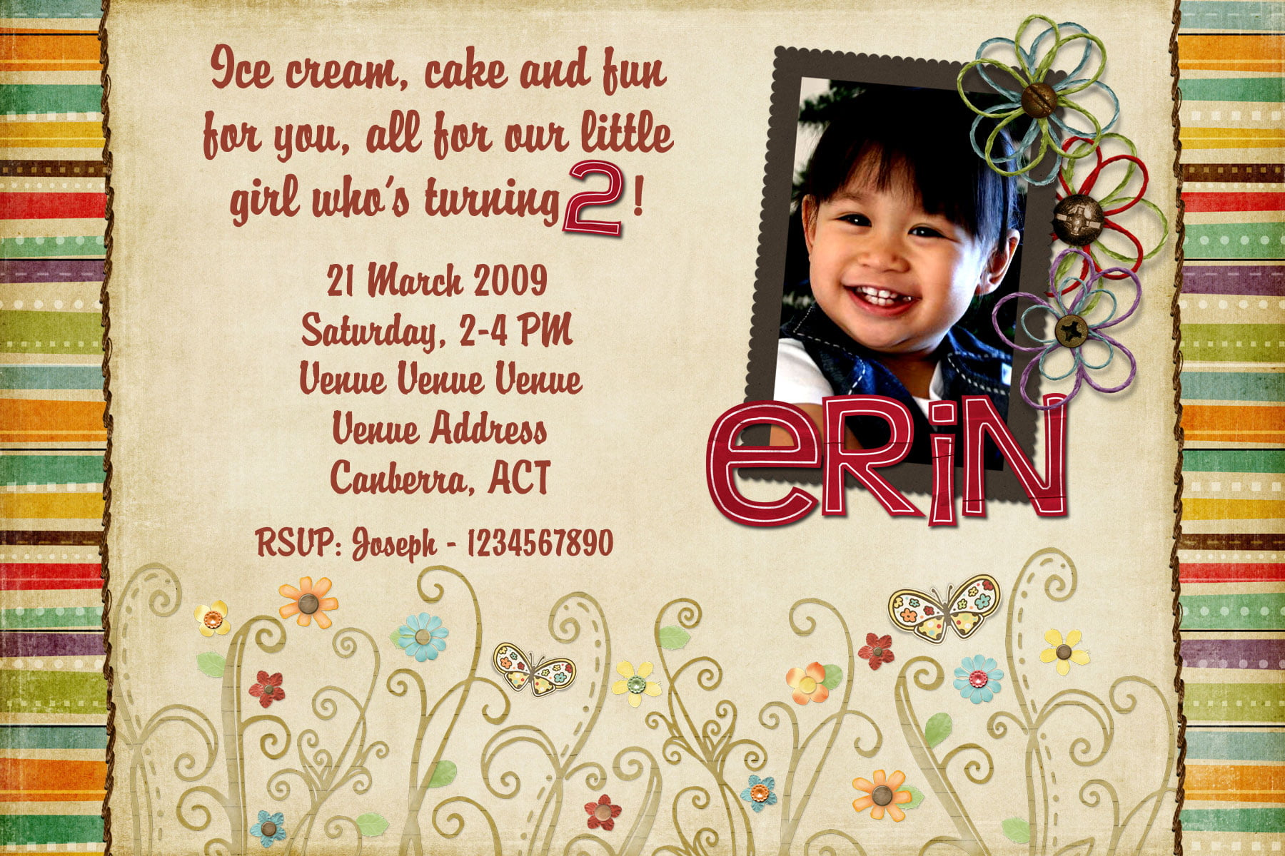 Free Printable 2 Year Old Birthday Invitation For Girls