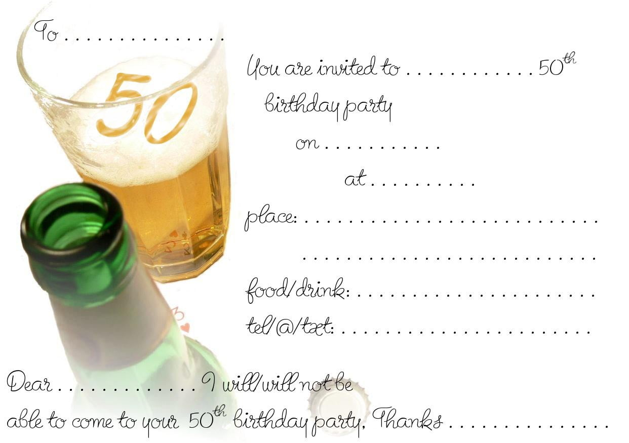 Free Printable 50th Birthday Invitations | Drevio Invitations Design