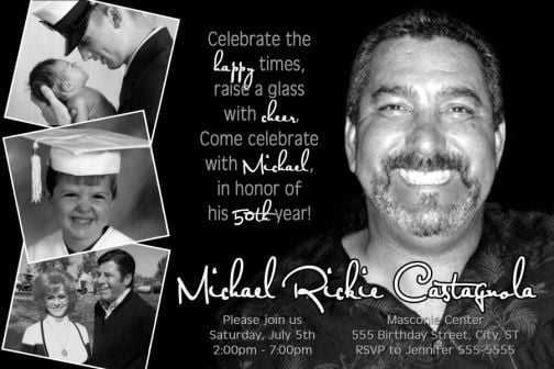 Free Printable ClassicBlack And White 50th Birthday Invitations