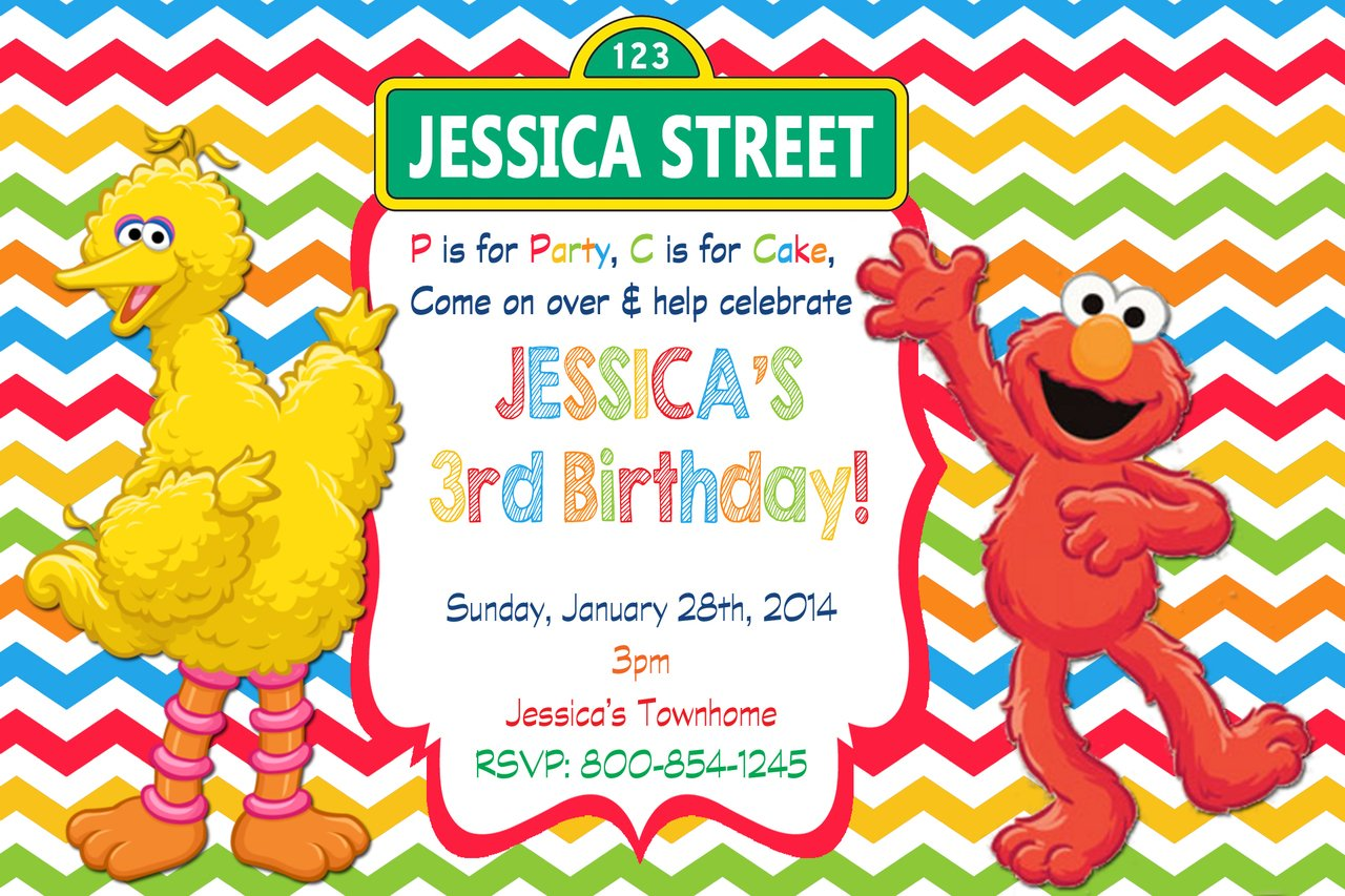 FREE Printable Elmo Sesame Street Birthday Party Invitations FREE