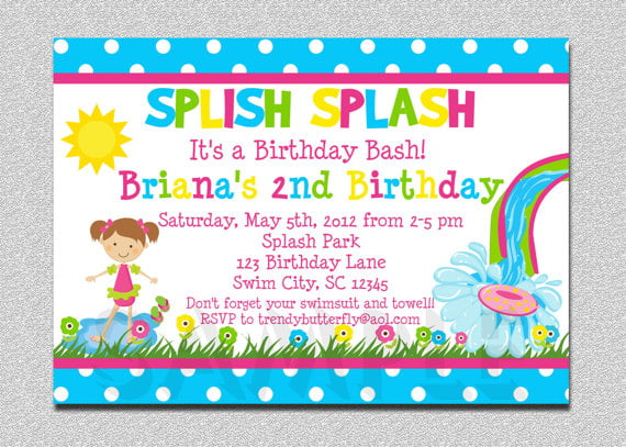 Free Printable Grils Pool Birthday Party Invitations For Kids