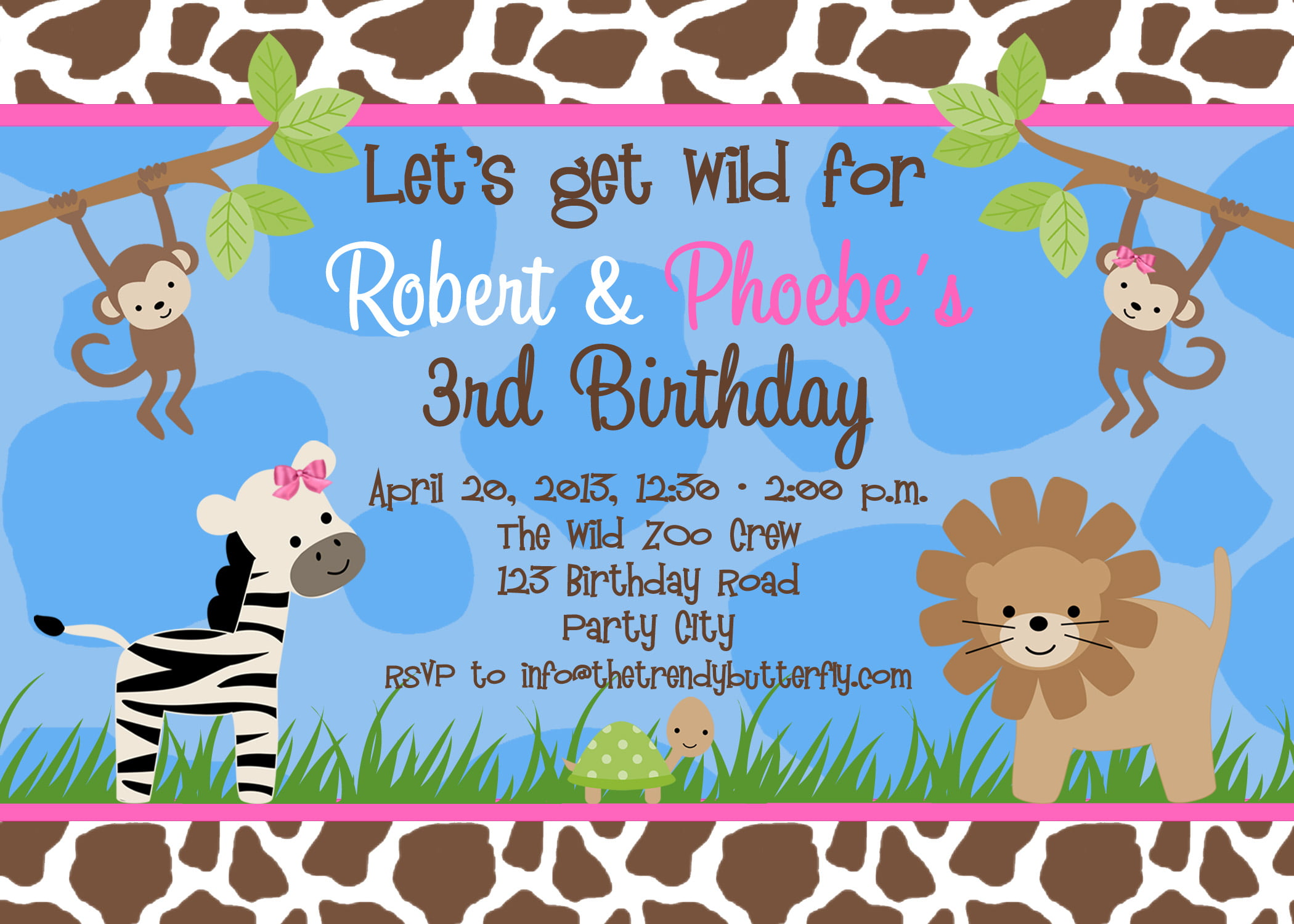 Free Printable Jungle Animal Birthday Party Invitation Templates