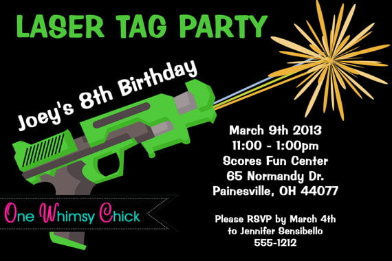 laser tag birthday party invitations template | drevio invitations, Party invitations