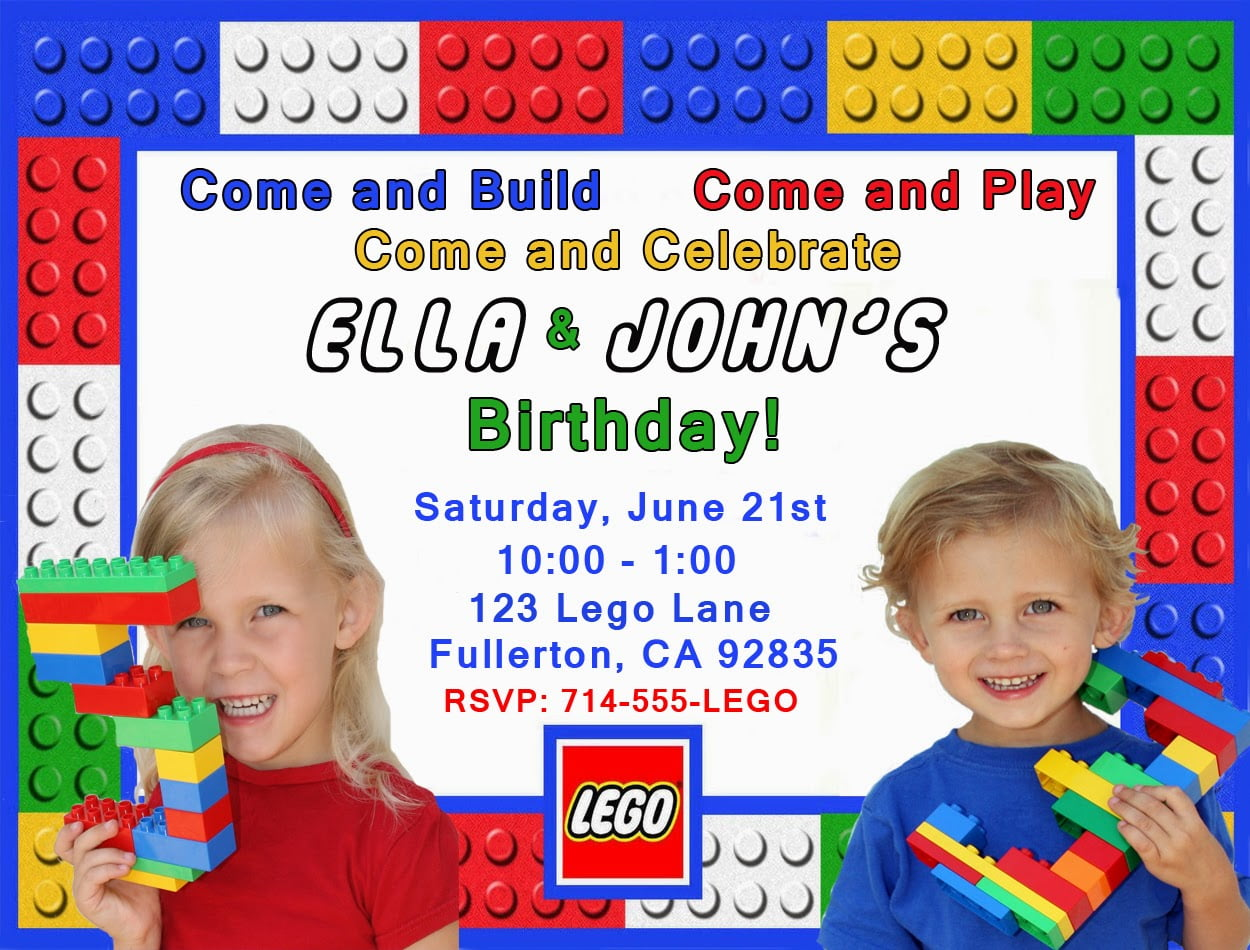 Free Printable Lego Birthday Invitation Custom Photo