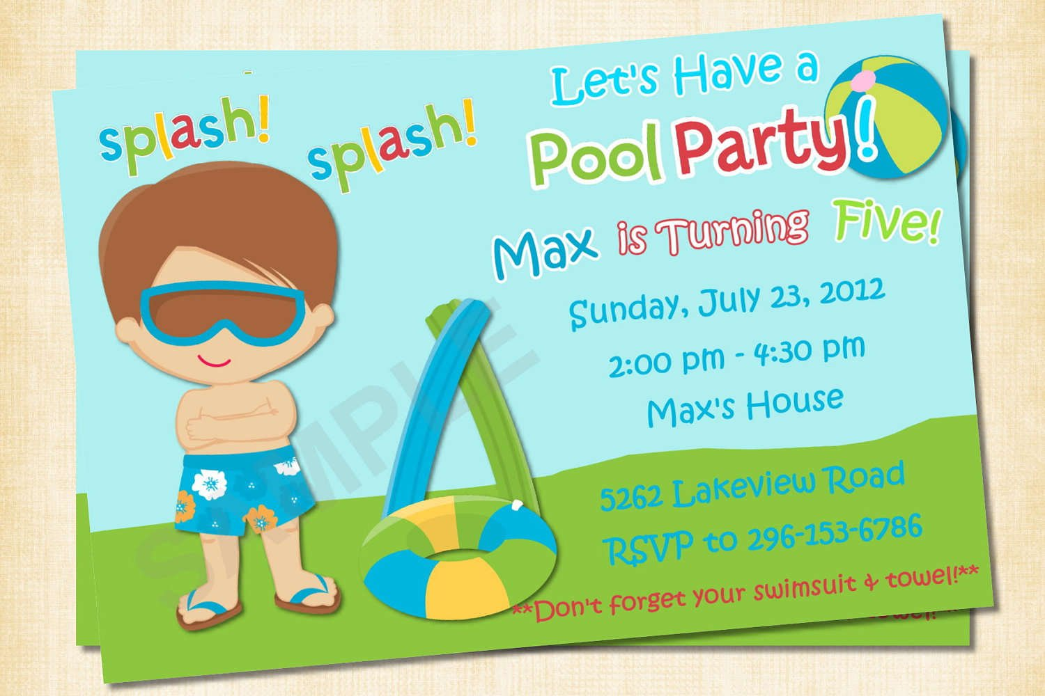 Free Printable Birthday Invitations For Boys – Pool Party Invitation Templates Free Printable