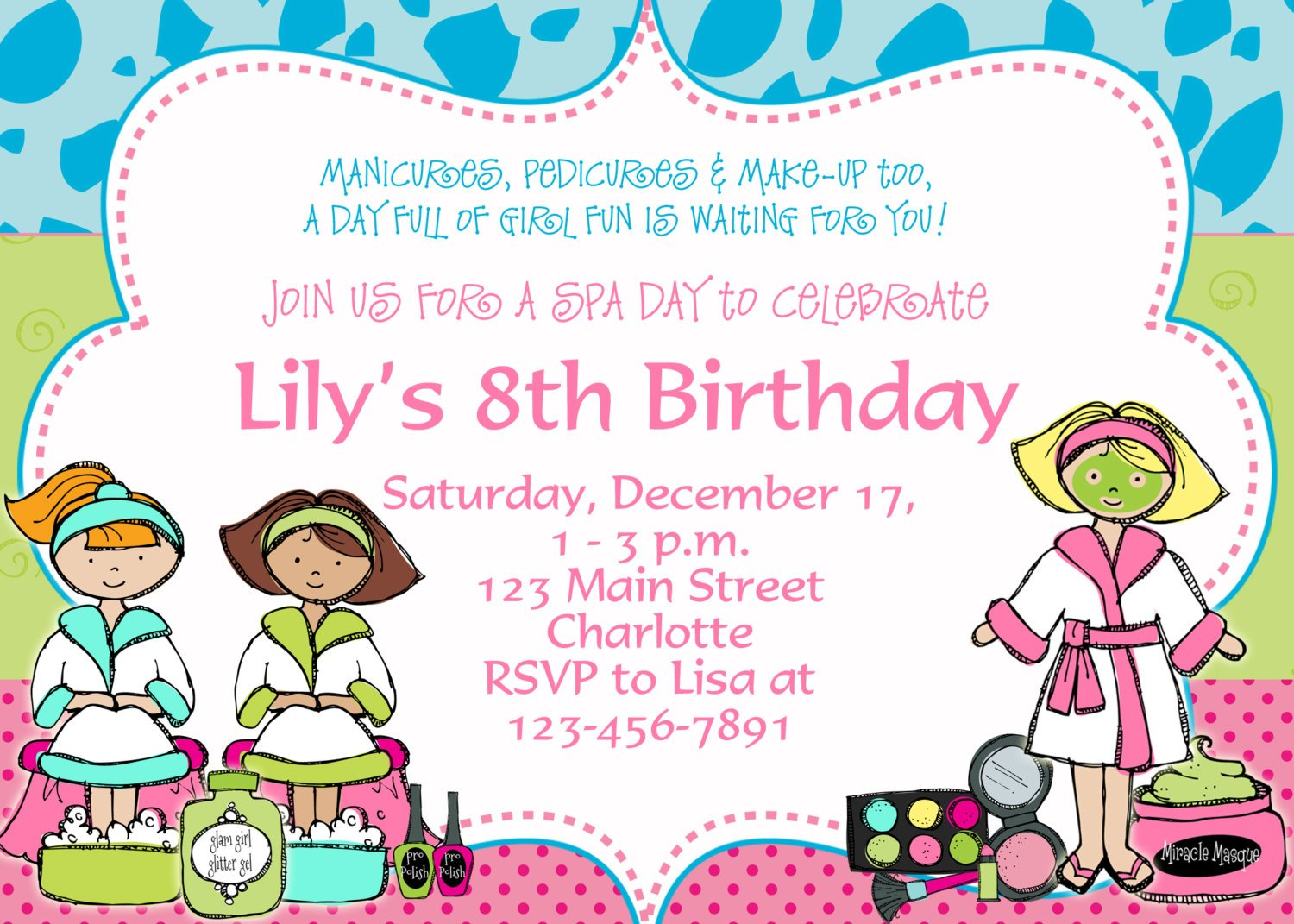 birthday party invitation templates invitations design printable spa birthday party invitation templates