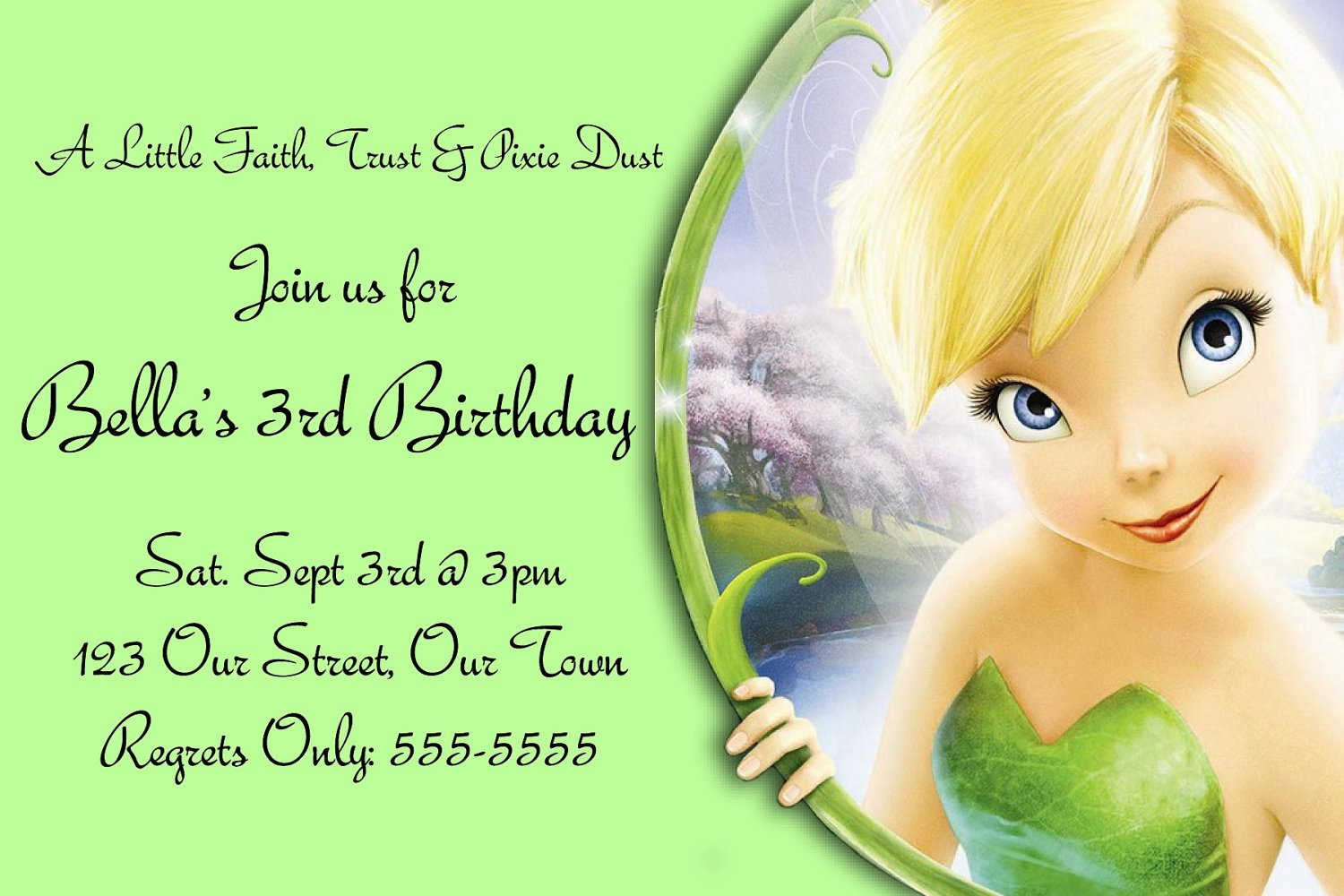 Free Printable Tinkerbell Birthday Invitation Templates