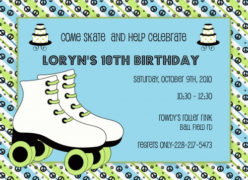 picture relating to Free Printable Roller Skate Template titled Roller Skating Birthday Occasion Invites - Absolutely free Invitation
