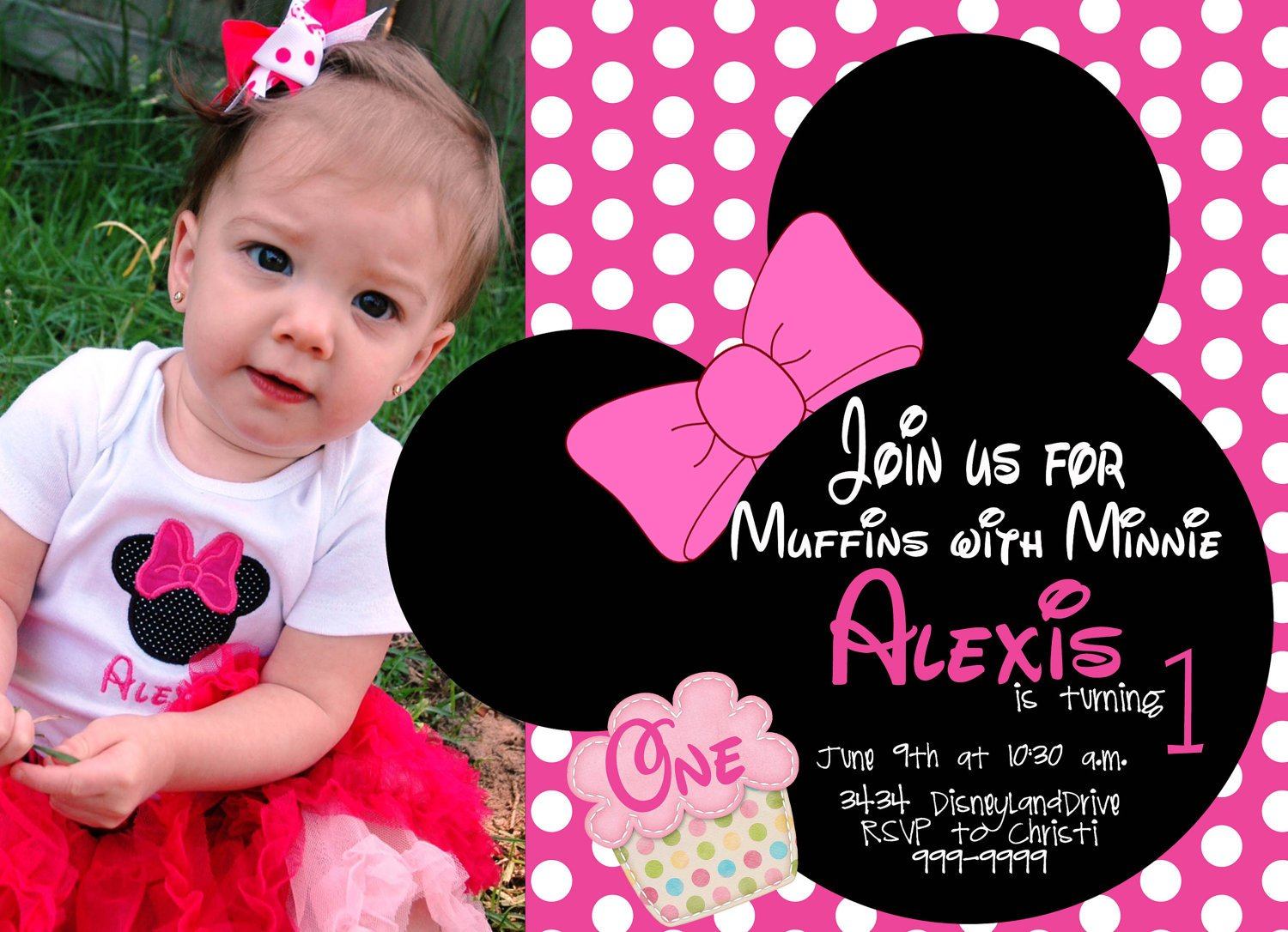 free minnie mouse first birthday invitations