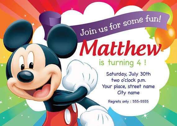 Free Templates For Mickey Mouse Birthday Invitations  Birthday Invitation Design Templates