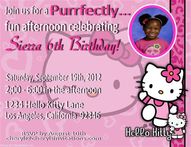 Hello Kitty Birthday Party Invitation Wording Ideas