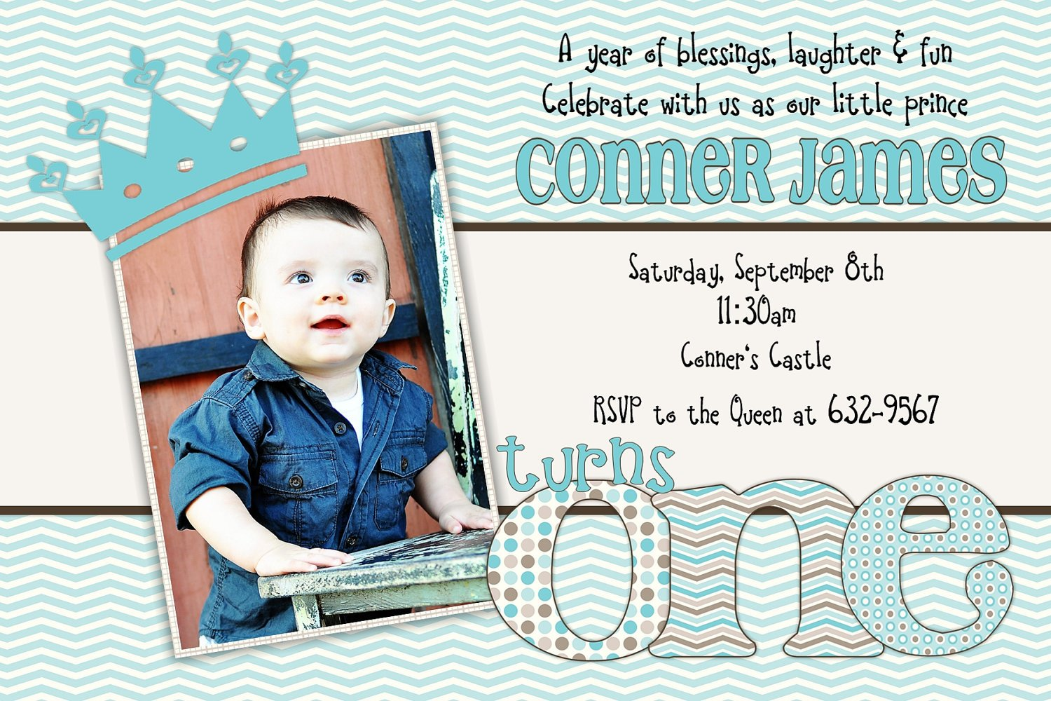 Little Princess Baby Boy First Birthday Invitation Ideas Drevio