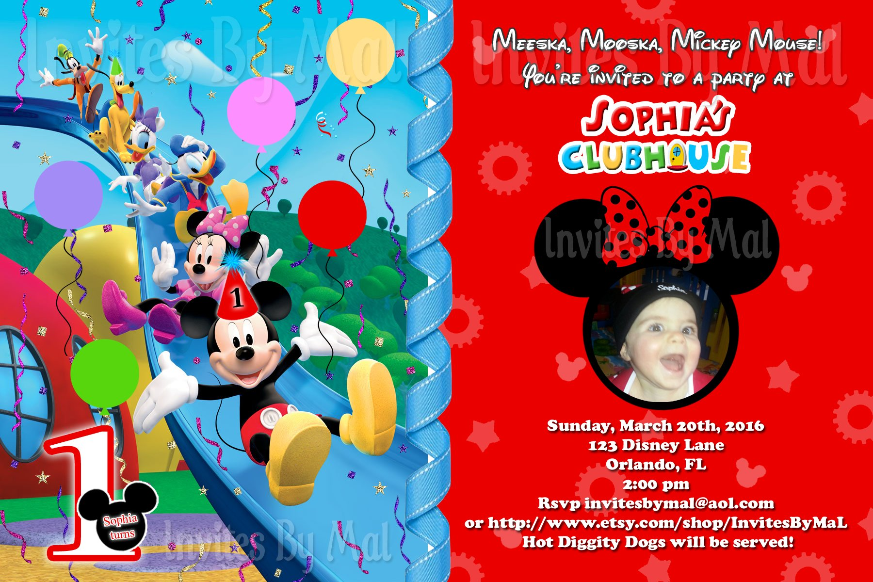 Mickey Mouse Clubhouse 1st Birthday Invitation Custom Photo