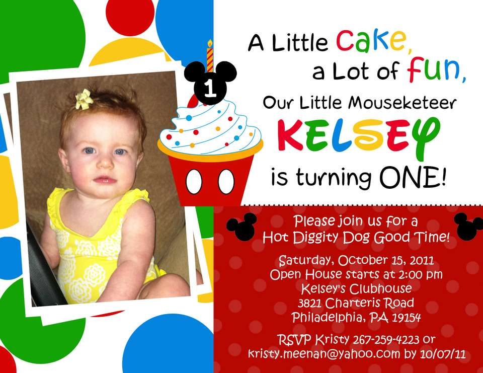 FREE Mickey Mouse Clubhouse 1st Birthday Invitations | Drevio Invitations Design