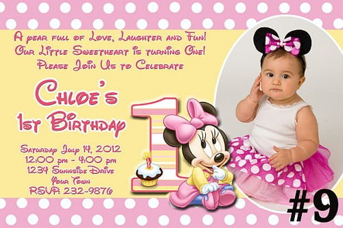 Minnie Mouse 1st Birthday Invitation Wording Ideas