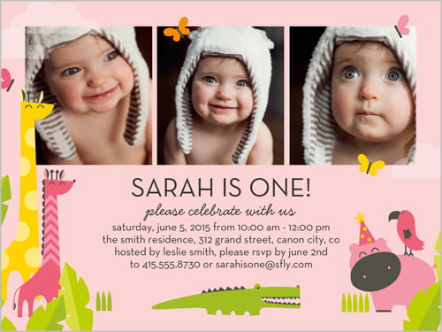 Free One Year Old Birthday Invitations Template