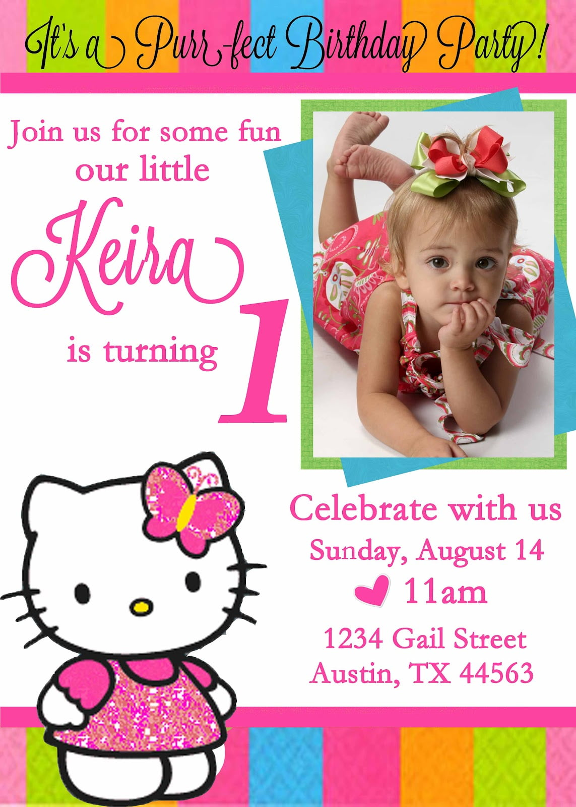 Personalized Hello Kitty Birthday Invitation Custom Photo