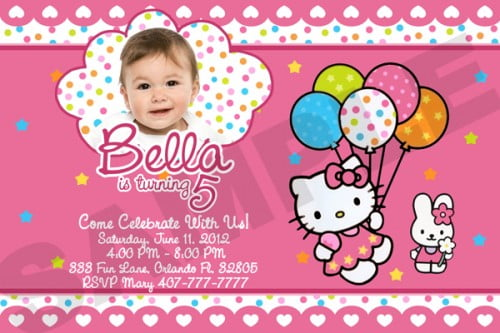 Personalized Hello Kitty Birthday Party Invitation Custom Photo