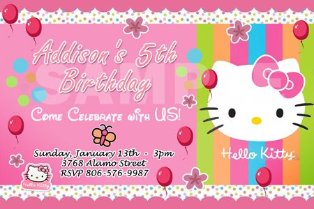 Hello Kitty Birthday Cards gangcraftnet – Personalized Hello Kitty Birthday Invitations