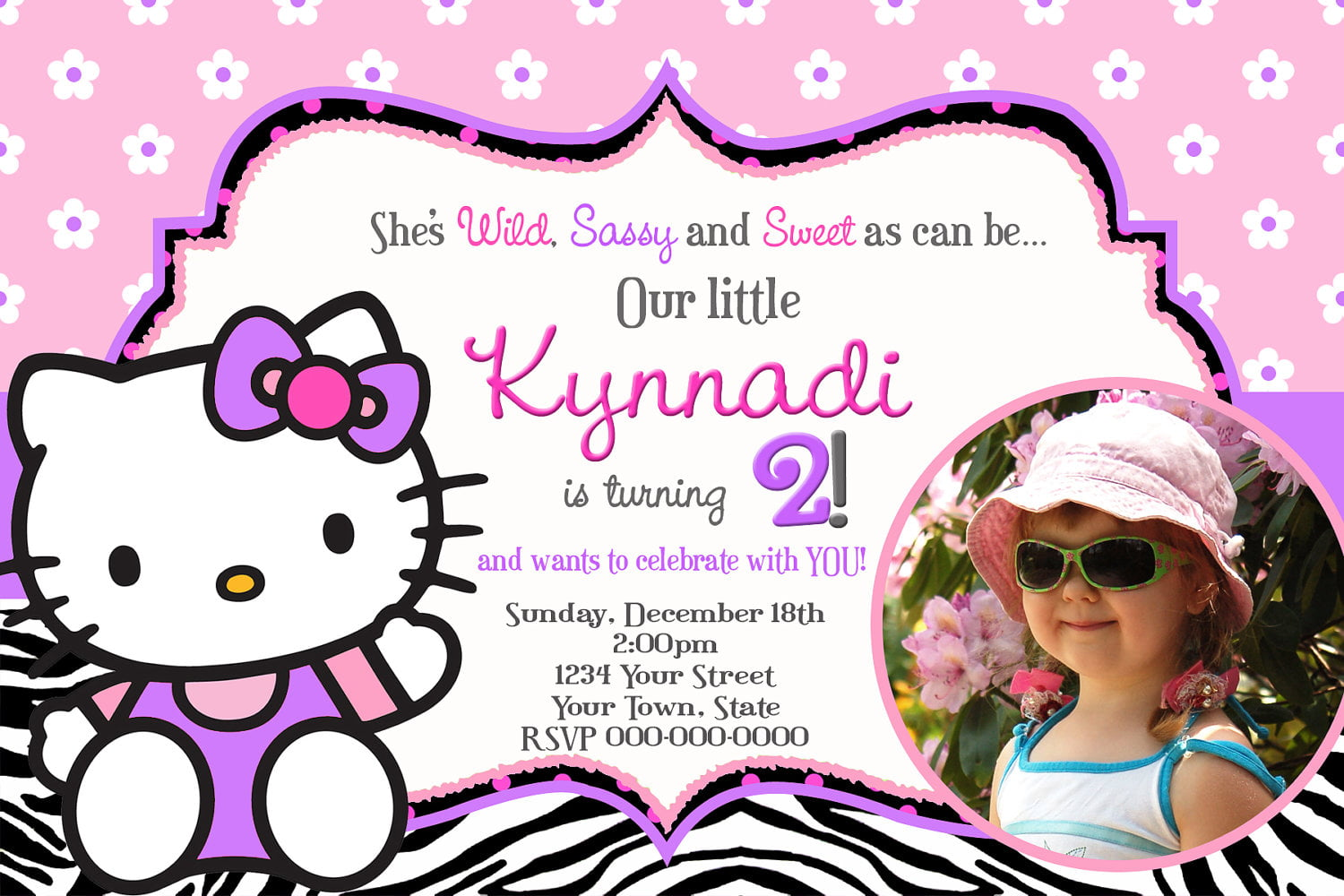 personalized hello kitty birthday invitations drevio invitations personalized hello kitty zebra print birthday invitations