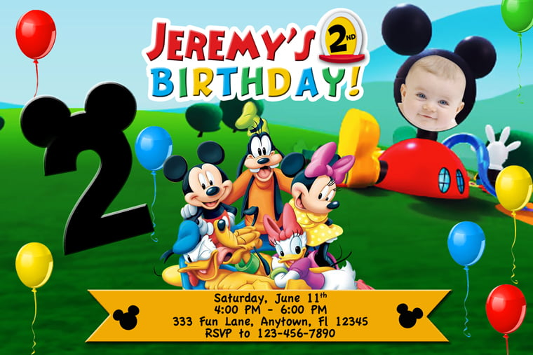 Personalized Mickey Mouse Clubhouse Birthday Invitations For Boys