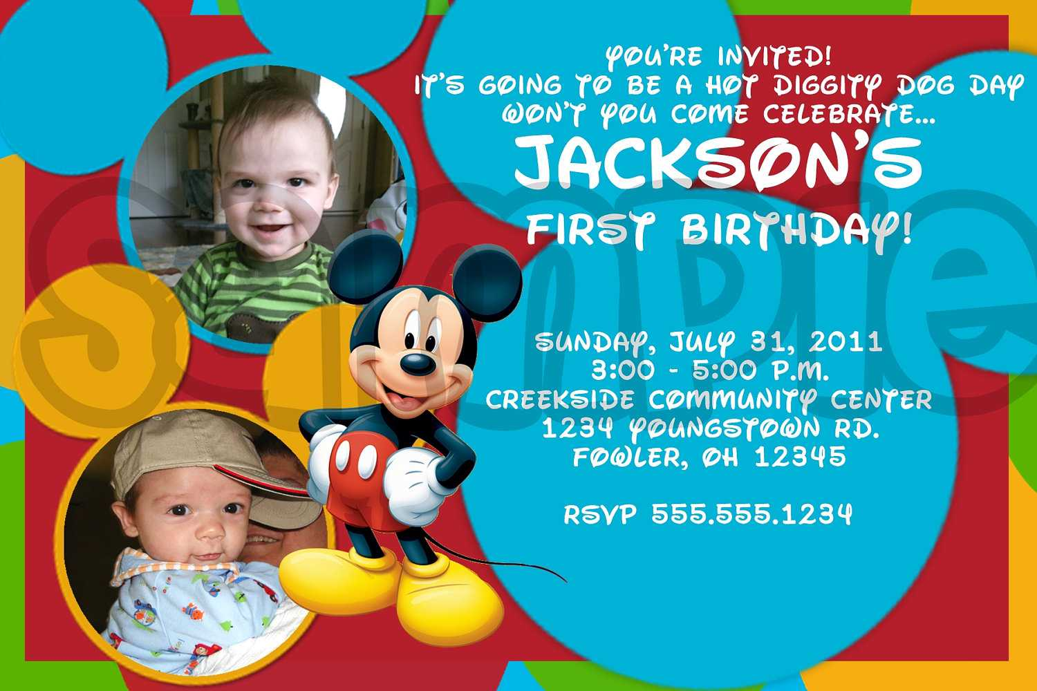 mickey mouse photo birthday invitations drevio invitations design personalized mickey mouse first birthday invitation custom photo
