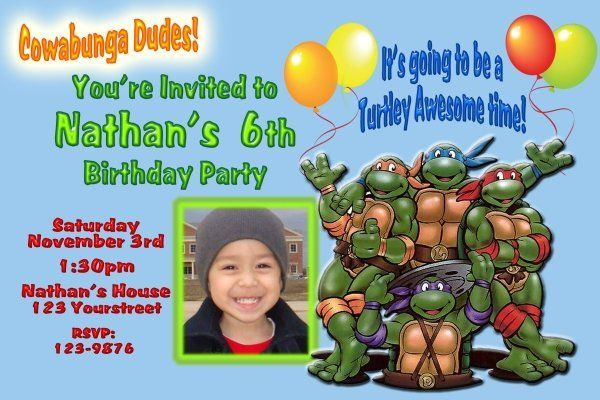 teenage mutant ninja turtles birthday invitations  drevio, Birthday invitations