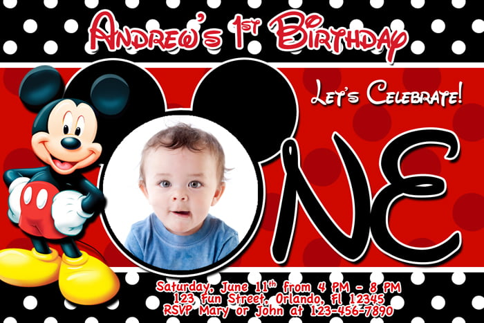 Marvelous Printable Mickey Mouse Clubhouse 1st Birthday Invitation Custom Photo